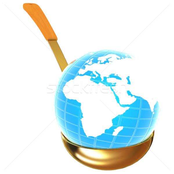 Azul tierra oro sopa cucharón blanco Foto stock © Guru3D
