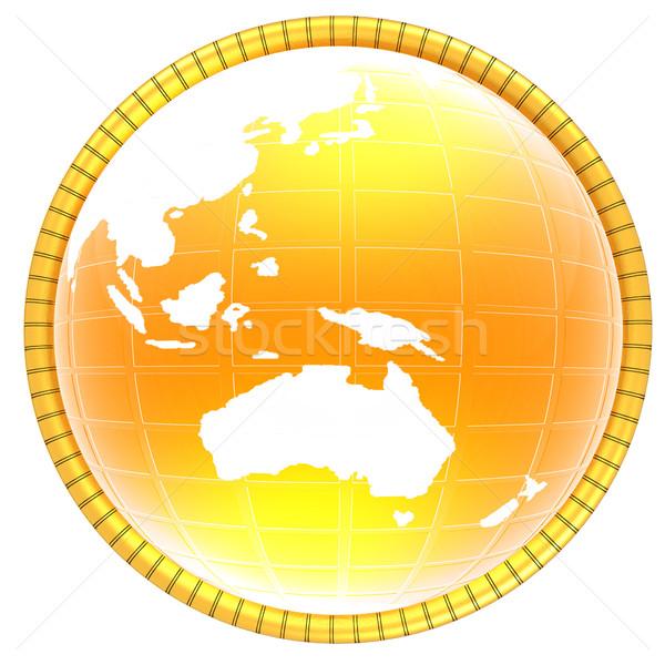 Gelb 3D Welt Symbol Karte Hintergrund Stock foto © Guru3D