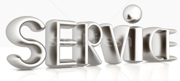 3D metaal tekst dienst witte business Stockfoto © Guru3D