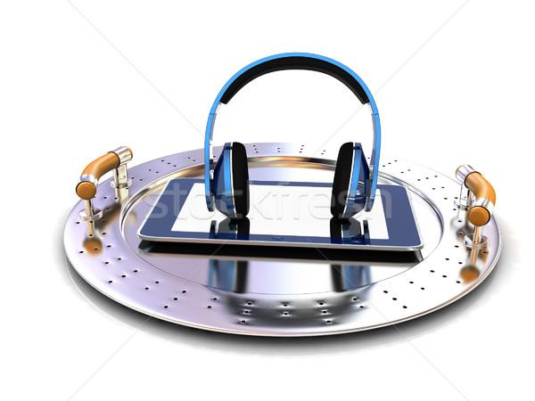 電話 ヘッドホン 金属 トレイ 白 音楽 ストックフォト © Guru3D
