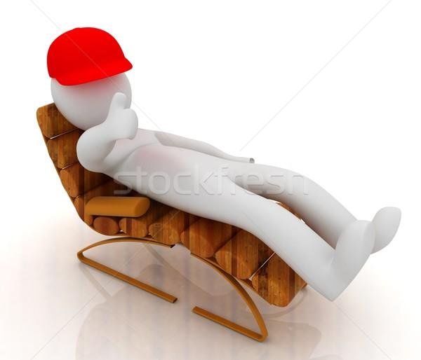 3D biały człowiek drewniane krzesło kciuk w górę biały Zdjęcia stock © Guru3D