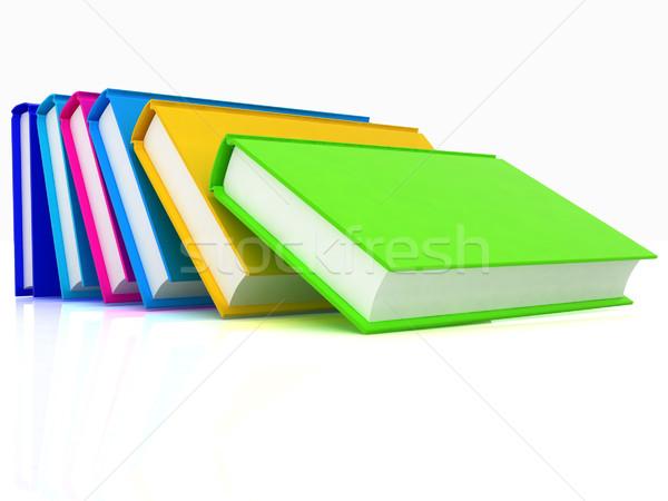 Renkli gerçek kitaplar beyaz kâğıt okul Stok fotoğraf © Guru3D