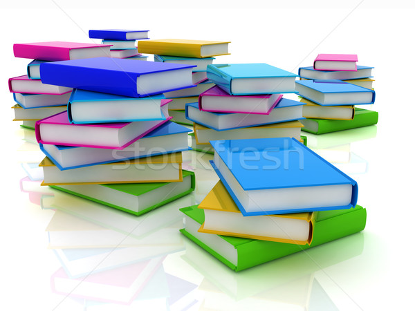 Stock fotó: Színes · igazi · könyvek · fehér · papír · iskola