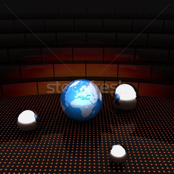 Earth and ball on light path to infinity Stock photo © Guru3D