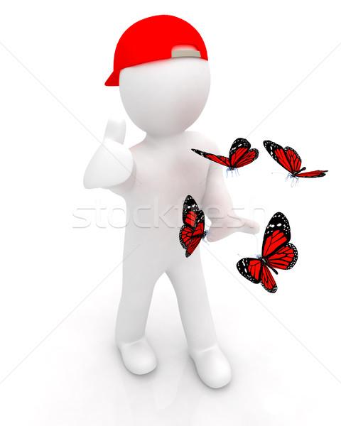 3d man kırmızı kapak başparmak yukarı kelebekler Stok fotoğraf © Guru3D