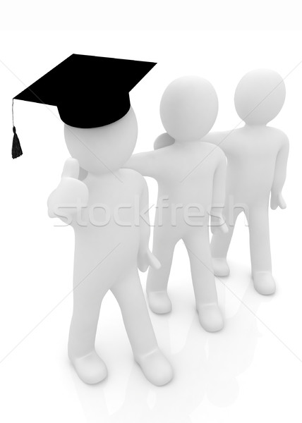 3d man graduation cap pouce up 3D Photo stock © Guru3D