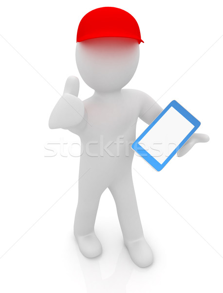 3D blanke man Rood cap duim omhoog Stockfoto © Guru3D