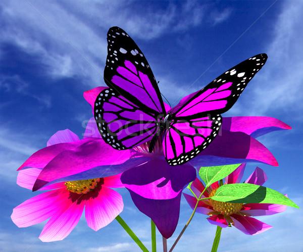 Güzel çiçek kelebek gökyüzü bahar çim Stok fotoğraf © Guru3D