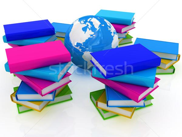 Renkli kitaplar toprak beyaz kitap dünya Stok fotoğraf © Guru3D