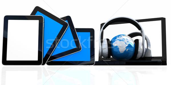 ヘッドホン 地球 ノートパソコン 白 インターネット ストックフォト © Guru3D