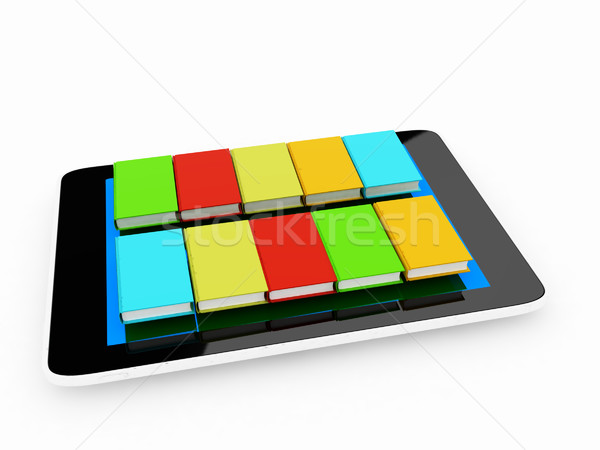 tablet pc and colorful real books Stock photo © Guru3D