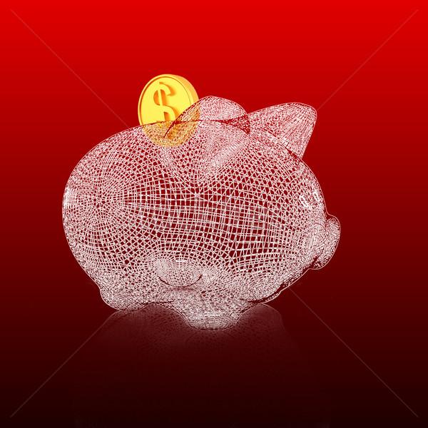 3D model spaarvarken helling technologie bank Stockfoto © Guru3D