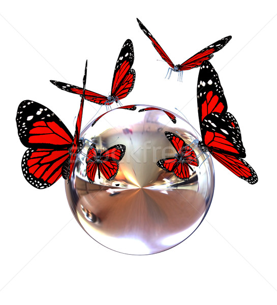 Red butterfly on a chrome reflective sphere Stock photo © Guru3D