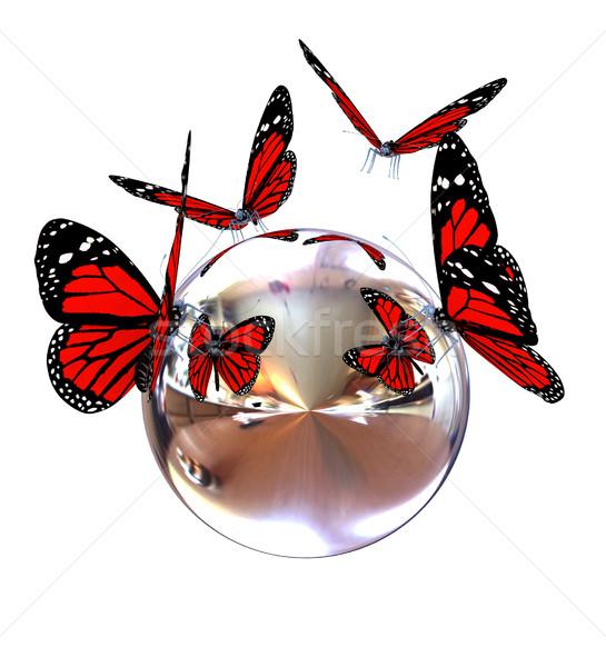 Rouge papillon chrome réfléchissant sphère blanche Photo stock © Guru3D