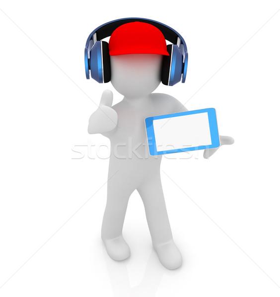 3D beyaz adam kırmızı kapak başparmak yukarı Stok fotoğraf © Guru3D