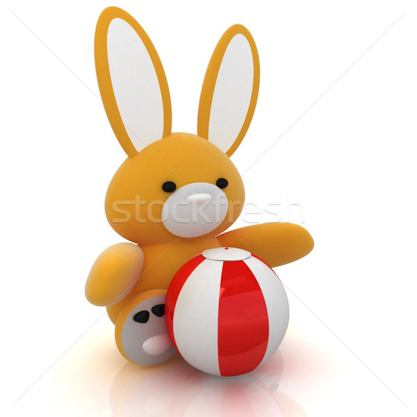 soft toy hare and colorful aquatic ball Stock photo © Guru3D