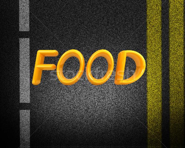 Asfalt abstract 3d tekst voedsel textuur weg Stockfoto © Guru3D