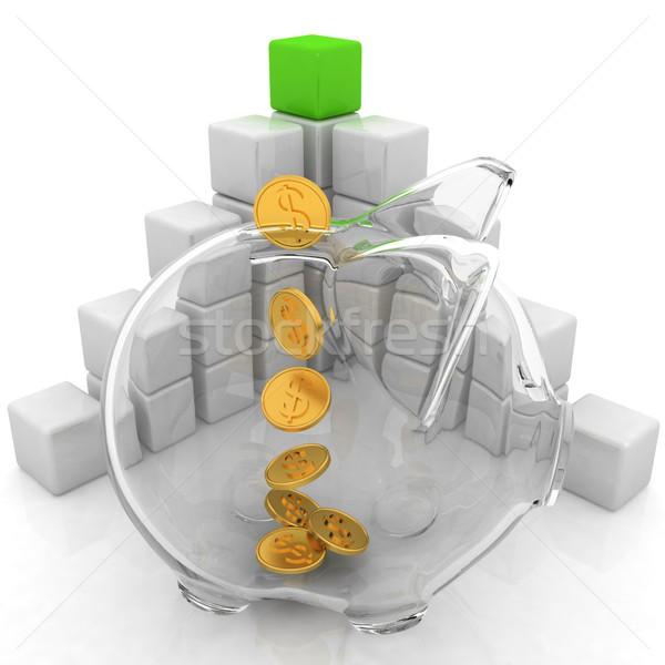 Diagram structuur spaarvarken witte business glas Stockfoto © Guru3D