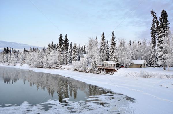 Hiver rivière Alaska ciel eau maison Photo stock © gwhitton