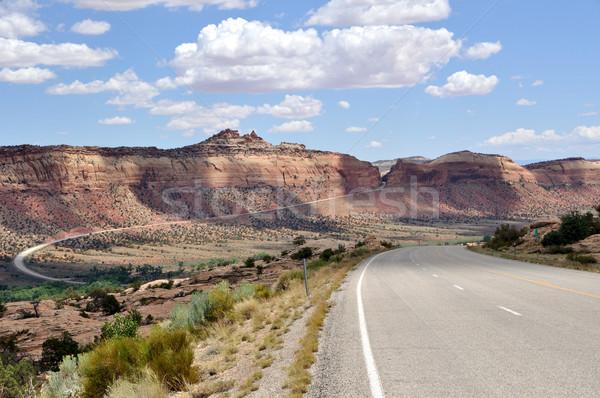 Szlak sceniczny południowy Utah chmury krajobraz Zdjęcia stock © gwhitton
