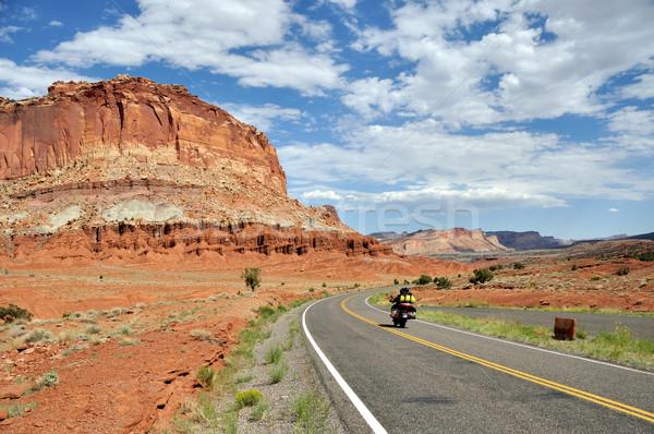 公園 道路 砂漠 青 オートバイ 休日 ストックフォト © gwhitton