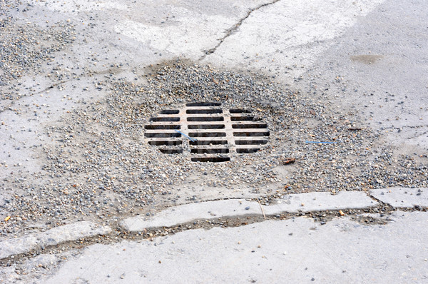 Gravel covered Storm Drain in an urban roadway Stock photo © gwhitton
