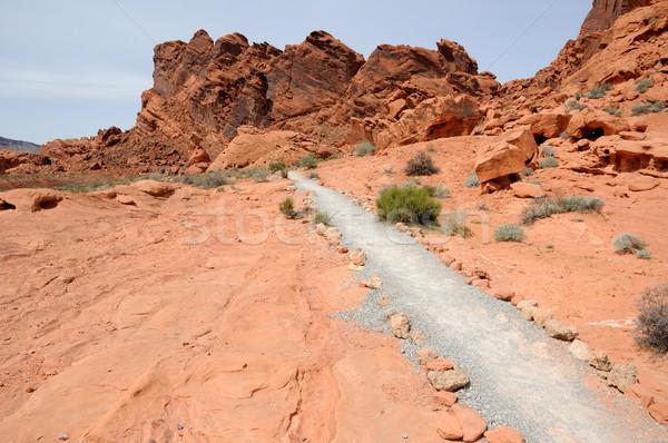 Parcours steen woestijn hemel brand oranje Stockfoto © gwhitton