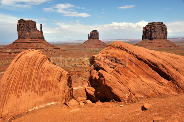 ミトン 谷 砂漠 オレンジ 青 旅行 ストックフォト © gwhitton