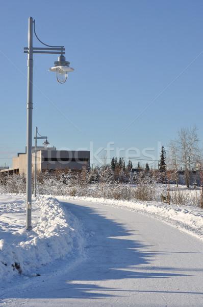 Város park ösvény tél égbolt tájkép Stock fotó © gwhitton