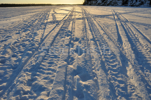 Neige machine congelés Alaska rivière ciel Photo stock © gwhitton