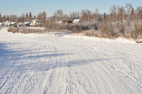 凍結 川 アラスカ州 空 水 市 ストックフォト © gwhitton