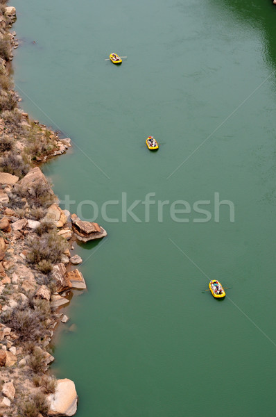 Navajo Bridge Crossing Marble Canyon with Rafters Below  Stock photo © gwhitton