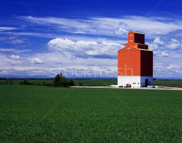 Orange grain elevator in green fields Stock photo © Habman_18