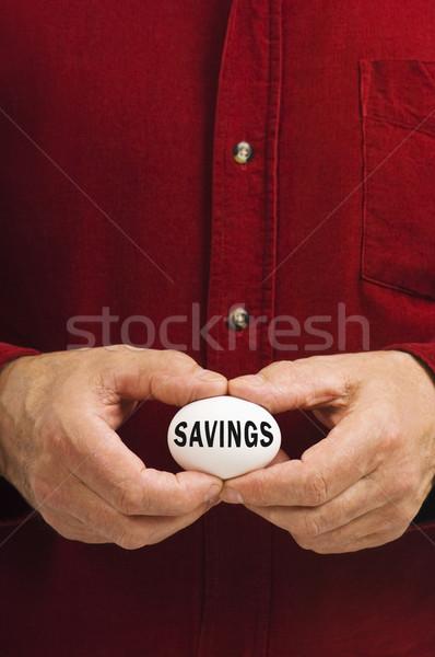 Poupança escrito ovo homem branco dinheiro Foto stock © Habman_18