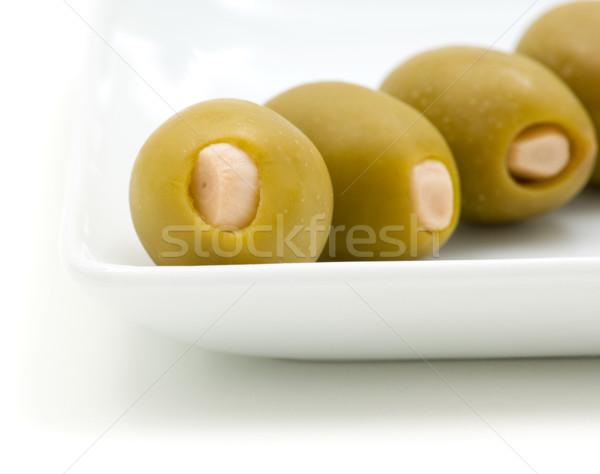 Recheado azeitonas branco prato fruto Foto stock © Habman_18