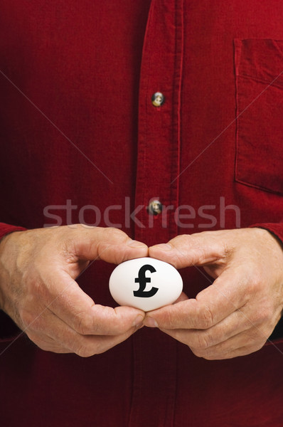 Man holds white egg with the British pound symbol Stock photo © Habman_18