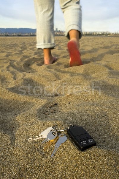 Stock photo: Lost keys at the beach