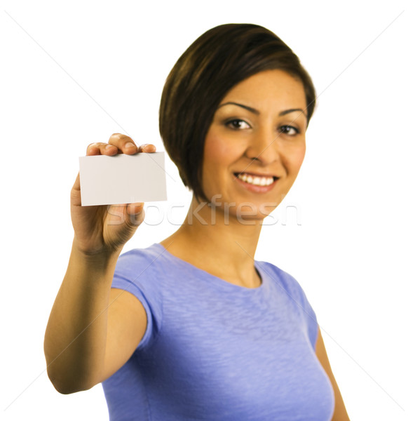 Young woman holding a blank business card Stock photo © Habman_18