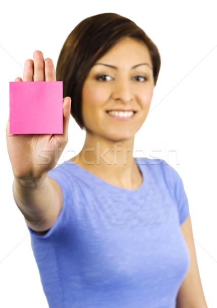 Fiatal nő öntapadó jegyzet leragasztott kéz csinos fiatal Stock fotó © Habman_18