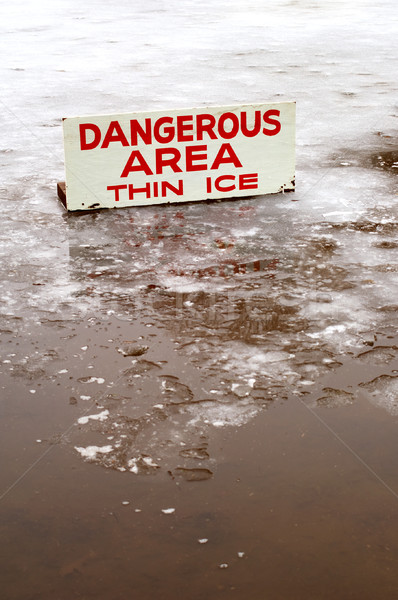 Stock photo: Dangerous area: Thin Ice