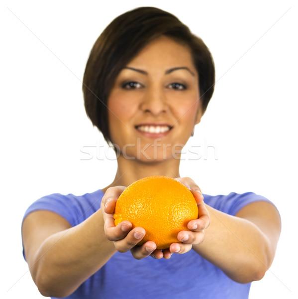 Gülen genç etnik kadın turuncu güzel Stok fotoğraf © Habman_18