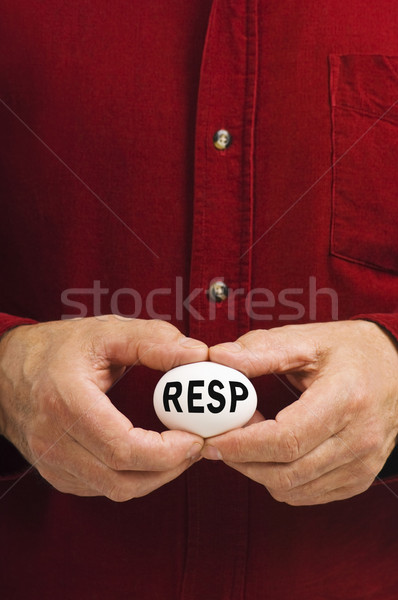 RESP written on egg held by man Stock photo © Habman_18