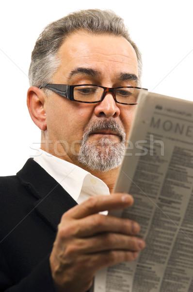 Adam okuma gazete olgun adam kâğıt haber Stok fotoğraf © Habman_18