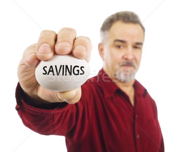 Homem maduro ovo poupança escrito mão financiar Foto stock © Habman_18