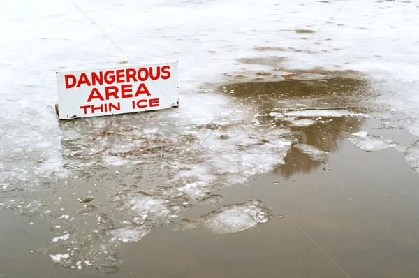 Tehlikeli ince buz gölet kapalı katman Stok fotoğraf © Habman_18