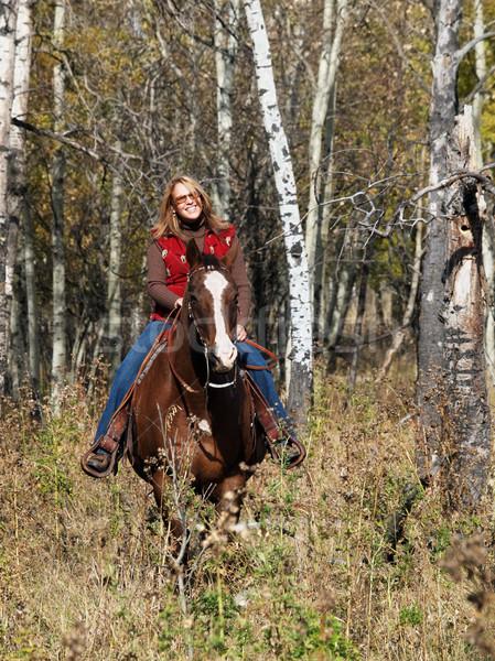 Nő lovaglás ló erdő napos idő boldog Stock fotó © Habman_18