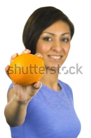 Mosolyog kisebbségi nő narancs csinos fiatal Stock fotó © Habman_18