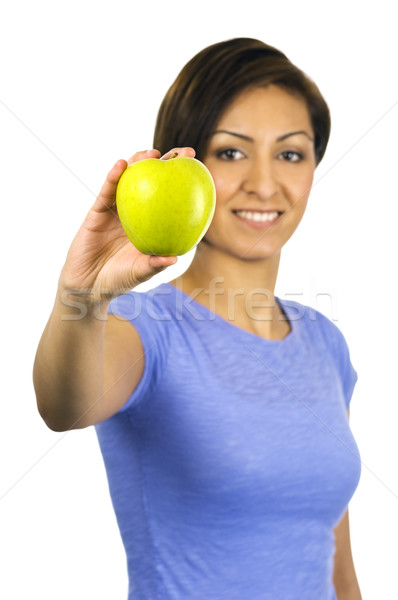 Young, ethnic woman holding a green apple Stock photo © Habman_18