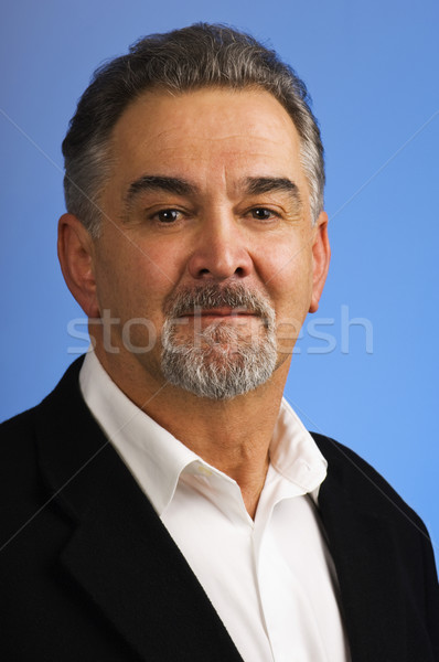 Portre olgun adam mavi işadamı sakal mutlu Stok fotoğraf © Habman_18