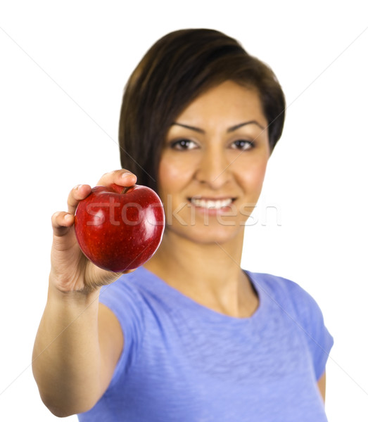 Young, ethnic woman holding a red apple Stock photo © Habman_18